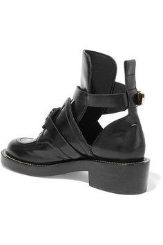Balenciaga | Cutout glossed-leather ankle boots | NET-A-PORTER.COM