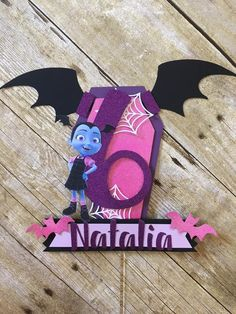 ***Please check shop announcement for current turnaround times as shipping dates shown may be inaccurate*** Vampirina inspired cake topper. Perfect for a batty party. Vampirina banner also available: Kylie Birthday, 3rd Birthday Cakes, Tea Party Birthday, 6th Birthday Parties, Birthday Cake Toppers, Birthday Party Decorations, 4th Birthday, Party Themes, Themed Parties