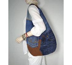 Hobo bag denim slouchy sling bag grab bag Casual style