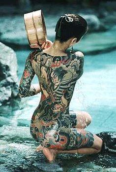 Japanese tattoo in onsen.