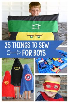 25 Free Sewing Patterns for Boys: These fun patterns are perfect for little boys (and girls might love them too). Superhero capes and masks, car carriers, pillowcases and more! Boys Sewing Patterns, Sewing For Kids, Baby Sewing, Fun Patterns, Free Sewing, Easy Sewing Projects, Sewing Projects For Beginners, Little Boy And Girl, Little Boys