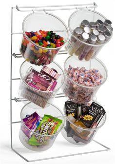 """$44.55 22""""H x 13.5W x 7.5D Displays2Go.com Great for countertop silverware storage. 4 bucket available also. Countertop Display Rack w/ 4 Round Bins"""