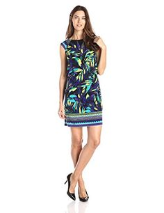 awesome London Times Women's Extended Cap Sleeve Border Print Blouson Dress