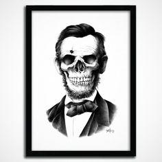 Lincoln Skull Print by BioWorkz