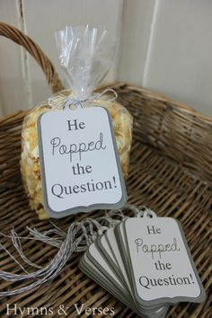 """""""He Popped the Question"""" Engagement Party Popcorn Favor Tags"""