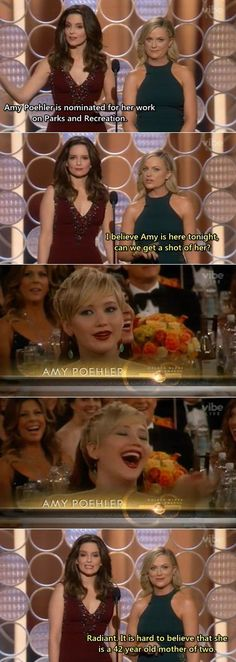 Tina Fey and Amy Poehler are the best - Jennifer Lawrence has an amazing reaction Funny Cute, The Funny, That's Hilarious, Amy Poehler, Tina Fey, I Love To Laugh, Laughing So Hard, Just For Laughs, Hunger Games