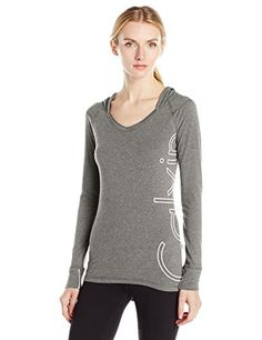 ab1cd65eb42 Calvin Klein Performance Women s Outline Cut Off Logo Sleeve Hoodie at Amazon  Women s Clothing store