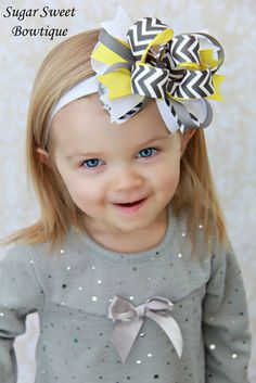 Gray and Yellow Chevron Layered Boutique Bow or Headband