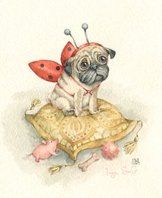 Cute Pugs, Cute Puppies, Dogs And Puppies, Kinds Of Dogs, All Dogs, Cartoon Drawings, Cute Drawings, Pug Love, Love Art