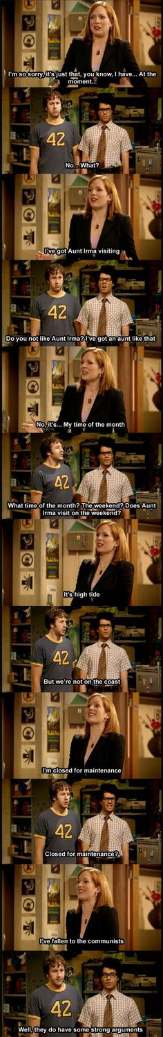 The IT Crowd: Fallen to the Communists Seriously one of the funniest shows ever Funny Pictures Of Women, Funny Pictures With Captions, Picture Captions, Funny Images, Funny Pics, Funny Quotes, Silly Pictures, Tv Quotes, Lito Rodriguez