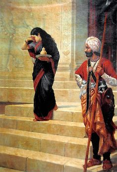 Sairandhri - Draupadi in Disguise Carrying Milk and Honey to the Court of Keechaka (Reprint on Paper - Unframed))