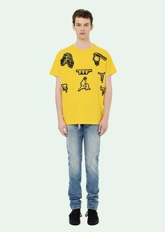 Yellow short sleeves T-shirt with black Horror Hands print.
