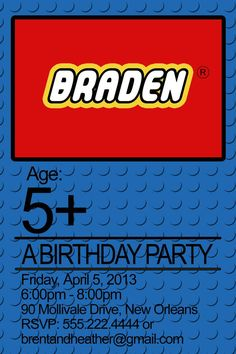 lego birthday party invitation PRINTABLE  by tinyshopofrandoms, $11.00