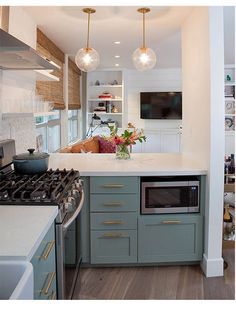 lamps and under counter microwave
