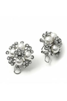 #fashionjewelry #twjonlinestore #ThisisStyle Rhodium Crystal Stone in Flower Shape with White Circle Pearls Earrings
