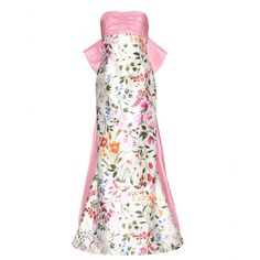 Oscar de la Renta - English Garden Mikado Bow Back gown - Add a touch of English garden to your next evening affair. This strapless gown is typically Oscar de la Renta, with the help of an oversized pink bow and the brand's famed floral print. The internal bodice will sculpt the body for an hourglass silhouette. Be sure to elevate the look with heels. seen @ www.mytheresa.com