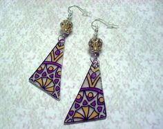 486 - Boucles d'oreilles, violet, jaune, perles de verre cristal jaune