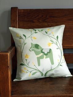 Green Swedish Dala Horse Pillow Cover with by LilleputtStudio, $58.00
