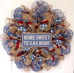 Home Sweet Texas Home Welcome Wreath Handmade Deco Mesh >>> Find out more about the great product at the image link.