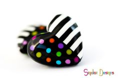 Heart beads stripes & dots by Sigalot Designs, polymer clay.