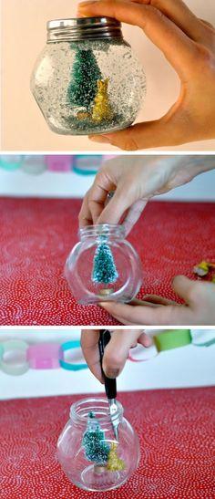Glitter Globe | Click Pic for 20 DIY Christmas Decorations for Home Cheap | DIY Christmas Decorations Dollar Store