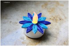 Quilling LED Teelichter Blaubi von Liebeabies auf DaWanda.com