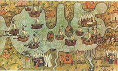 """JAUME I """"EL CONQUISTADOR"""" y su Ejercito  Se regulan los """"Usos y Costumbres de la Mar """",nucleo del futuro Consolat de Mar.     Reunidos en Alcanyis ,el rey Jaume I, el noble aragones don Blasco d'Alagó y Hug de Forcalquer, Mestre del Hospital, acuerdan la conquista del Reino de Valencia:   """"I es la millor terra i la mes bella del Món"""", decía don Blasco.    Las huestes de don Blasco,tomaron Ares y Morella a """"desgrat"""" del rey."""