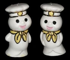 Pillsbury Doughboy Salt and Pepper Shakers. No date. Handcrafted.