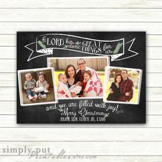 Christmas Photo Card Printable Religious  | He Has Done Great Things Filled with Joy | Chalkboard | Holiday Family Letter | Digital File by SimplyPutPrintables on Etsy