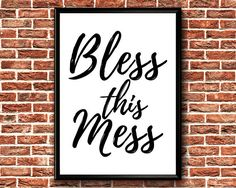 Bless This Mess Print  Family Printable Wall Art  Bless This