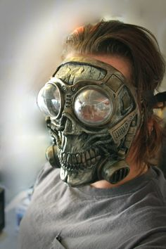 Cyberpunk Steampunk Diesel punk cosplay fetish Larp Full Face Skull Gas mask with froggle ON SALE NOW! Mode Steampunk, Steampunk Mask, Steampunk Costume, Steampunk Fashion, Diesel Punk, Cool Masks, 3d Prints, Skull Art, Headgear