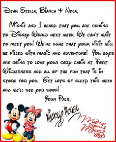 We Heard You're Coming to Disney World!   A Letter from Mickey & Minne - I love how this gives you step by step instructions on navigating the Dis-boards for this type of thing.