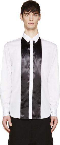 Comme des Garçons Homme Plus  White & Black Satin Panelled Shirt