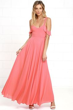 The Romantic Fantasy Coral Pink Maxi Dress will make your wildest wishes come true! Two sets of sheer straps support a darted bodice and cascading maxi skirt. Coral Pink Dress, Coral Bridesmaid Dresses, Pink Maxi, Red Maxi, Bridesmaids, Sexy Maxi Dress, Chiffon Maxi Dress, Dress Red, Barbie