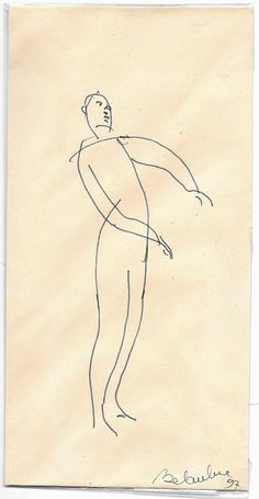Envelope 4, original vintage drawing made by an artist in the Parisian bookshop Mona Lisait, unique gift item