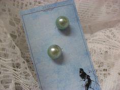 Vintage Earrings Sky Blue Faux Single by TheRiversEdgeVintage