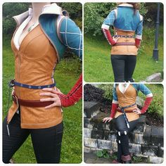 """santatory: """"So! This is my Triss Merigold cosplay thus far♡♡ Its been a long Journey but worth it! The corset top is leather and the shoes are improved. The necklace is."""