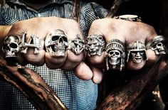 One of our favorite customers is happy to now have his fists full! Viking Jewelry, Gothic Jewelry, Men's Jewelry Rings, Jewelery, Men's Accessories, Mens Skull Rings, Vikings, Wax Ring, Biker Rings