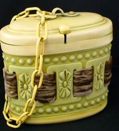 Art Deco Small Celluloid Purse with Velvet Ribbon Weave