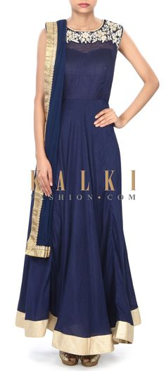 Buy Online from the link below. We ship worldwide (Free Shipping over US$100) Price- $149 Click Anywhere to Tag http://www.kalkifashion.com/navy-blue-anarkali-suit-enhanced-in-embroidered-armhole-only-on-kalki.html