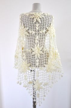 Crochet Shawl Ivory Cream Mohair Weddings Wrap by reflectionsbyds, $95.00