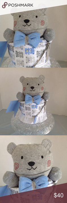 Selling this Bow Tie Bear Diaper Cake Baby Shower Gift NEW on Poshmark! My username is: ladydi6937. #shopmycloset #poshmark #fashion #shopping #style #forsale #Gerber #Other