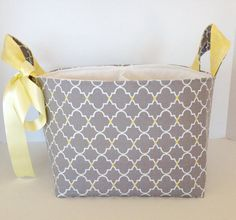Grey lemon Diaper caddyNappy storagefabric by FigTreeHillCrafts