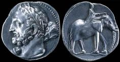 Carthage silver double shekel circa 230 BCE. The Punic (Carthaginian) god Melqart is shown on the left of the coin. He is depicted resembling the Greek hero Herakles with a club over his shoulder. On the reverse is a war elephant, as used by Hannibal in his great campaign against Rome.