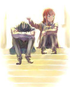 Okabe and Kurisu… I love how she is such a tsundere XD _Steins:Gate