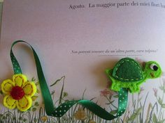 Felt Bookmark with Tortoise, Green Ribbon and Yellow Flower - Gift for reader - Back to school