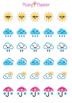 Assorted Weather Planner Stickers | Erin Condren, Kikki K, InkWell, Plum Planner, Scrapbook by PeonyPlanner on Etsy