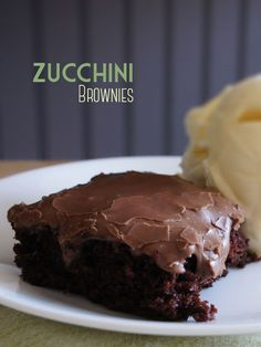 Zucchini Brownies and the BEST Milk Chocolate Frosting. Yummy dessert recipe.