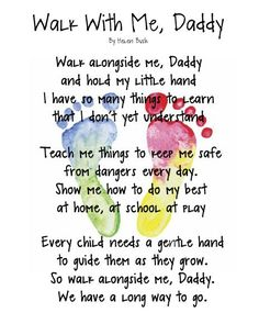 "Father's Day DIY poem with child's foot print. This poem can be framed; and you can stick with the ""photo frame"" and poem theme by adding another frame where kids can also write a special messages to dad: http://www.mybellapearl.com/fathers-day/"