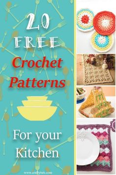 Free crochet pattens for the kitchen. 20 different crochet patterns to re decorate your kitchen with your own crochet projects. Most of them are perfect stash buster projetcs
